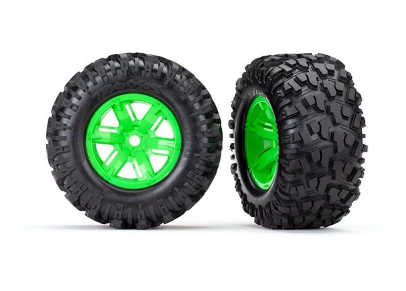 Kompletträder fertig montiert (grüne Felgen) für X-Maxx