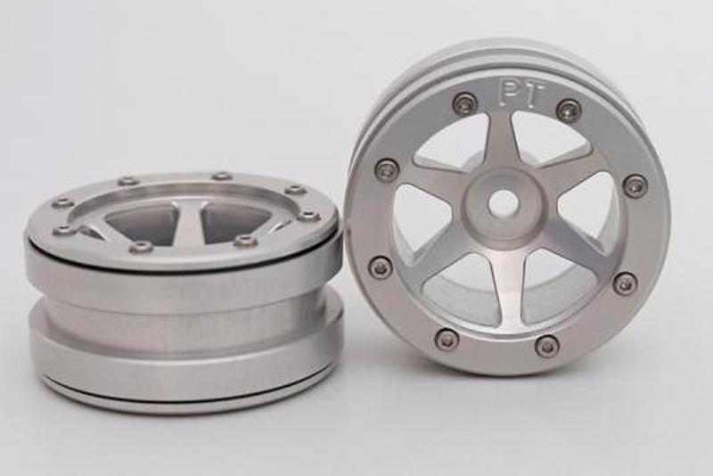 Aluminium Beadlock Felgen 1.9 PT-Slingshot silber