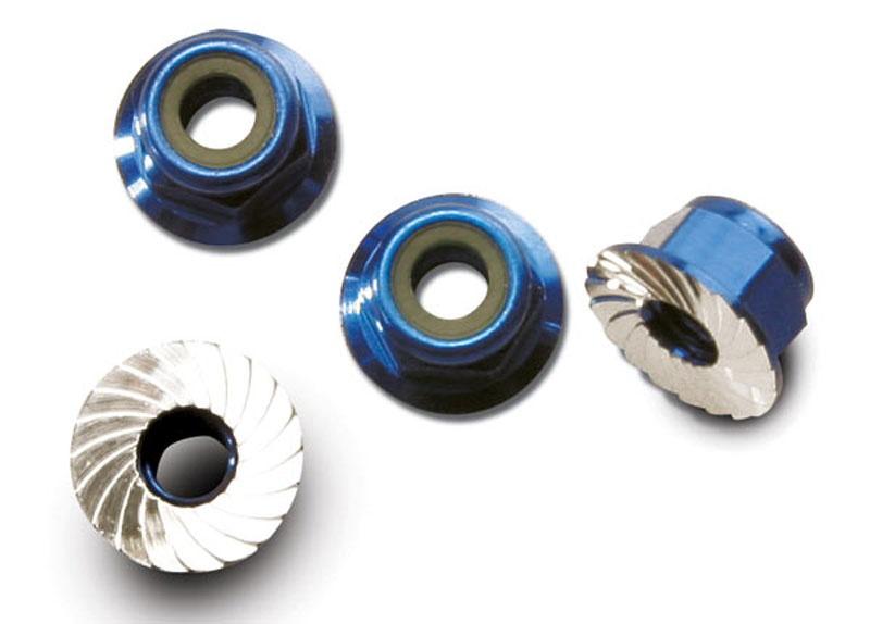 Muttern mit Flansch 4mm blau selbstsichernd