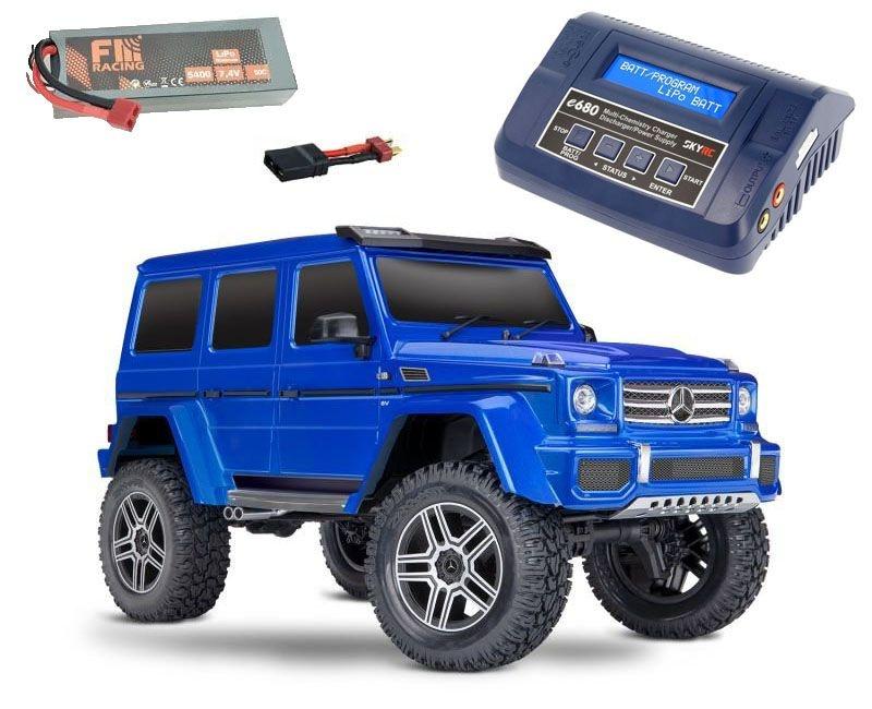 TRX-4 Mercedes G500 4x4 1/10 Crawler RTR blau + LiPo, Lader