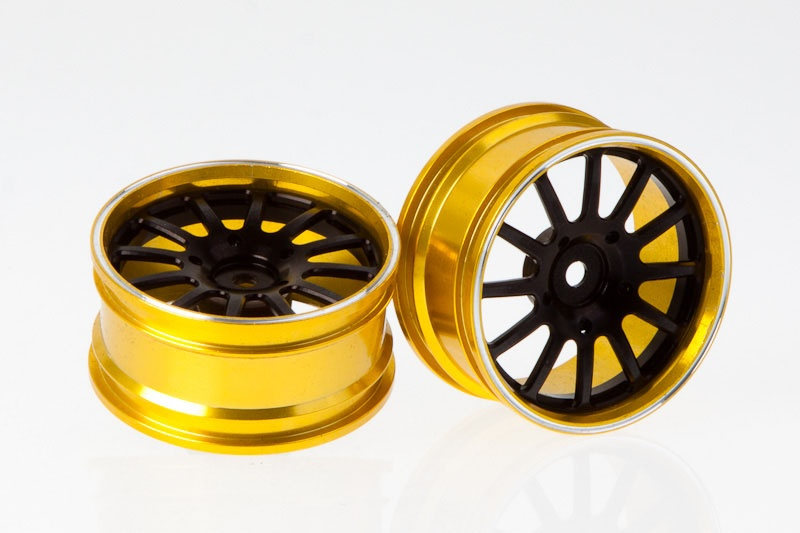 CNC Alu-Felgen (schwarz/gold) für 1/10 Tourenwagen