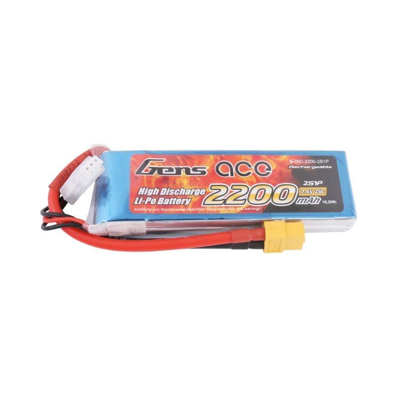 LiPo Akku 2200mAh 2S1P 7,4V 25C mit XT-60 Stecker
