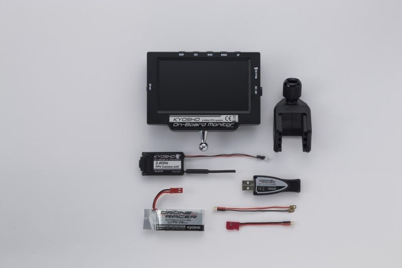 FPV Set, Monitor und Kamera mit Akku und USB Ladegerät