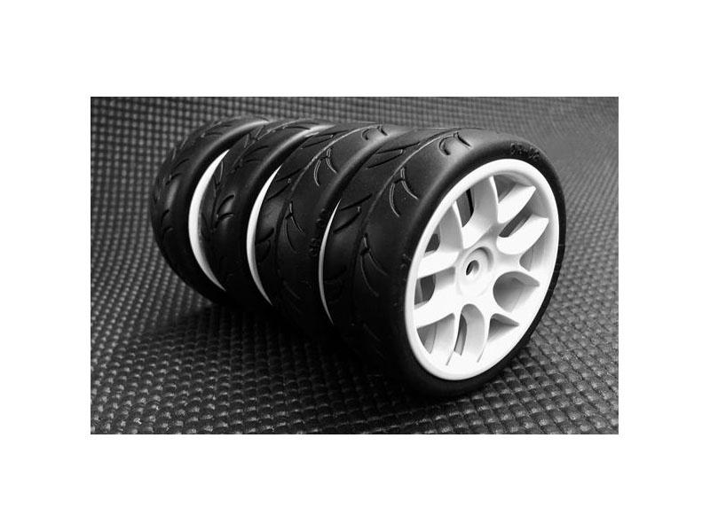 1/10 Slick Räder 24mm verklebt mit 10-Speichen Felgen, 4St.