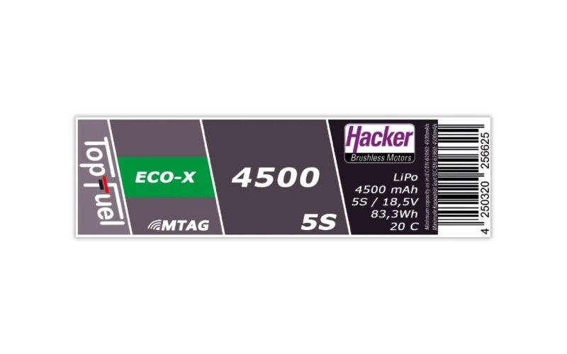 TopFuel LiPo Akku 20C ECO-X 4500mAh 5S 18,5V MTAG, XT90