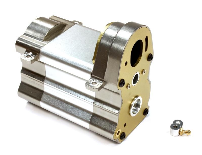 CNC Alu Getriebegehäuse für Custom 1/14 Truck Silver Gun