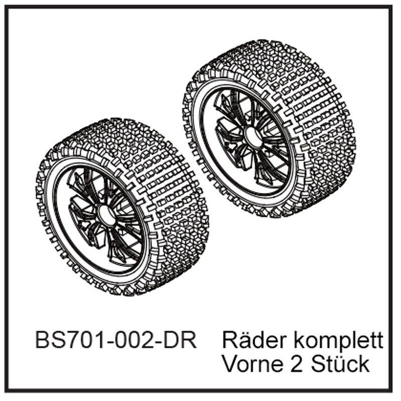 Räder komplett vorn (2 Stück) - BEAST BX Buggy 12mm