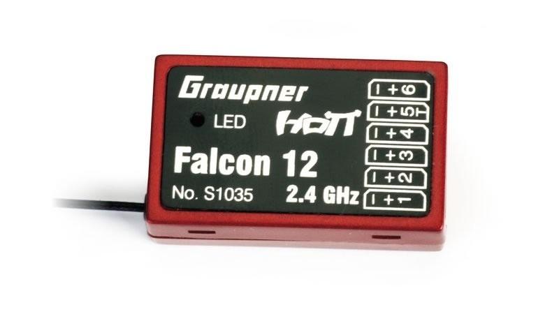 Falcon 12 HoTT - 2.4 GHz Empfänger 6 Kanäle + 3-Achs Gyro