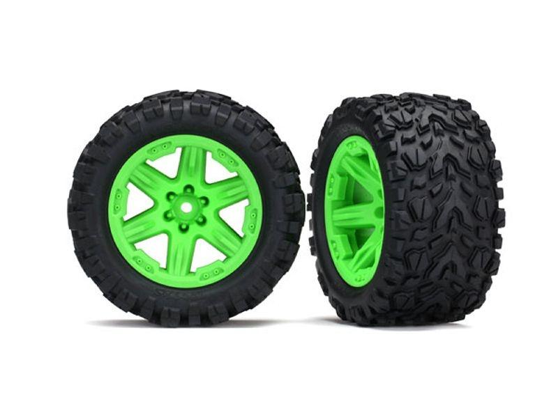 Talon Extreme Reifen auf Felge grün montiert für Rustler 4x4