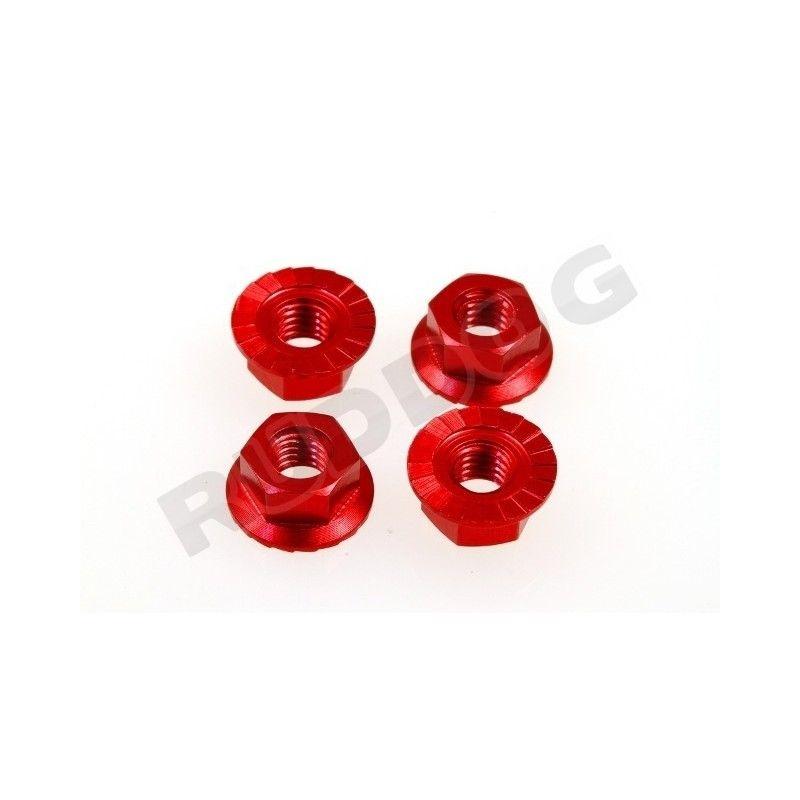 4mm Aluminium Radmutter, selbstsichernd, 4St, rot