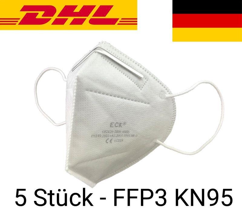 Atemschutzmaske Mundschutz Maske KN95 FFP3 - 5 Stück
