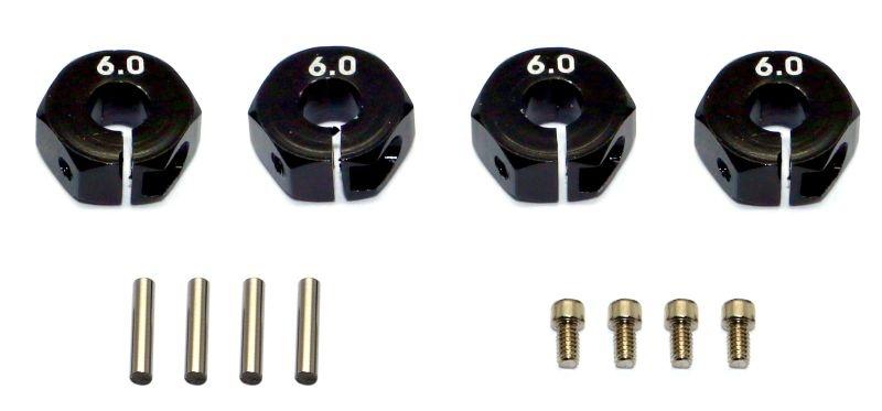 Aluminium 12mm Sechskant Radmitnehmer - 6mm dick (4) schwarz