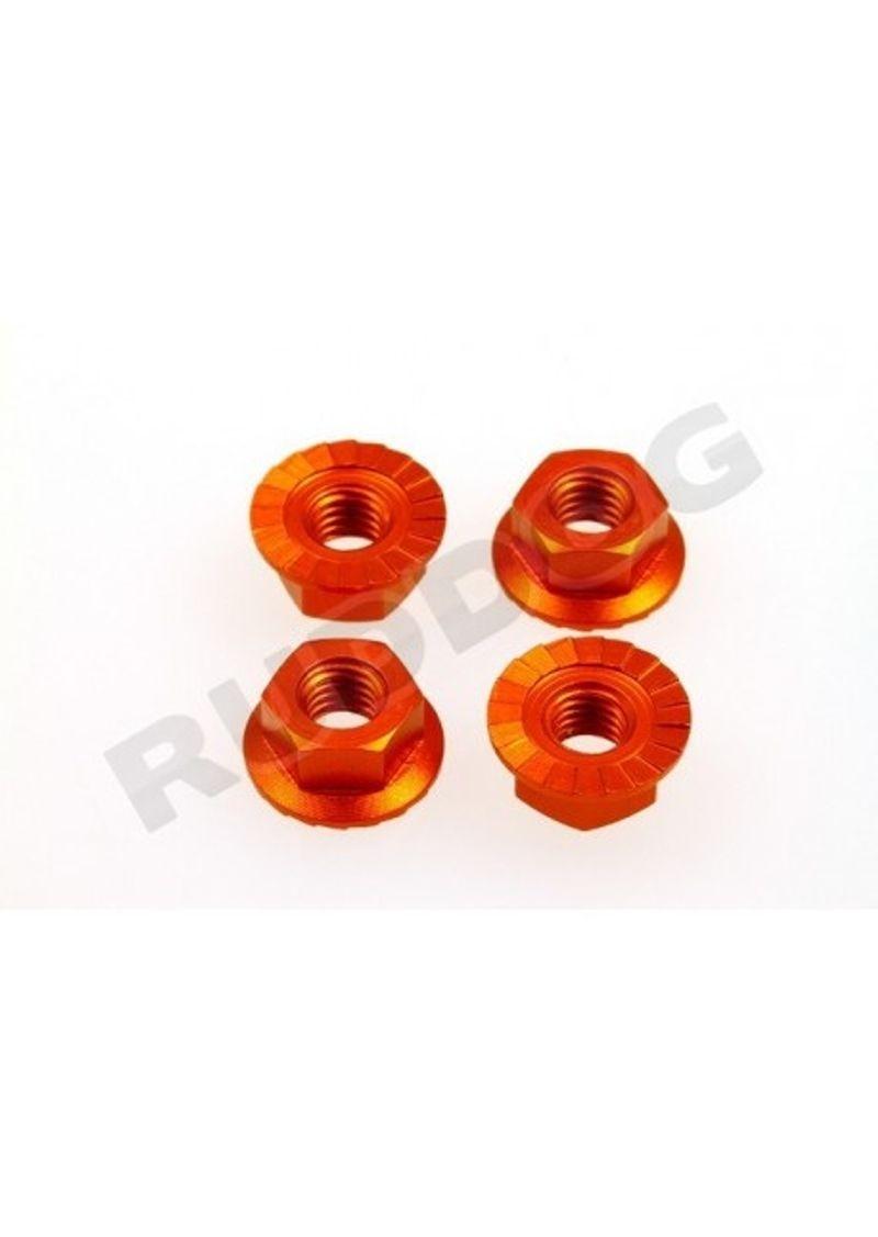 4mm Aluminium Radmutter, selbstsichernd, 4St, orange