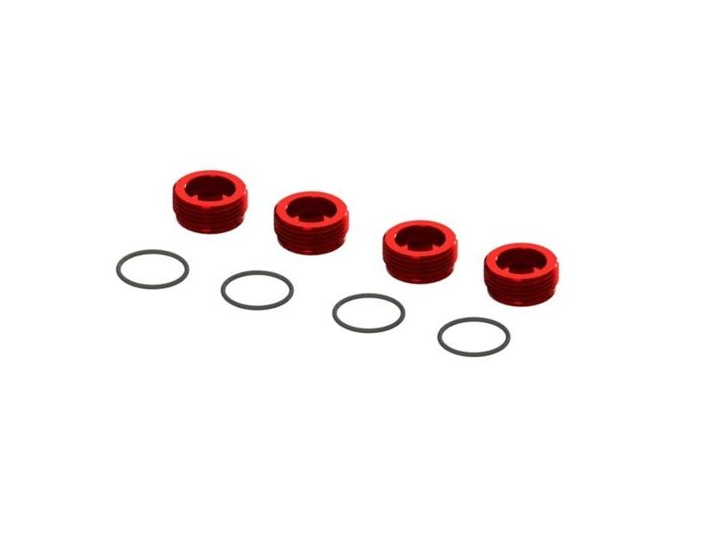 Aluminium Radträger Muttern rot (4) inkl. O-Ringe