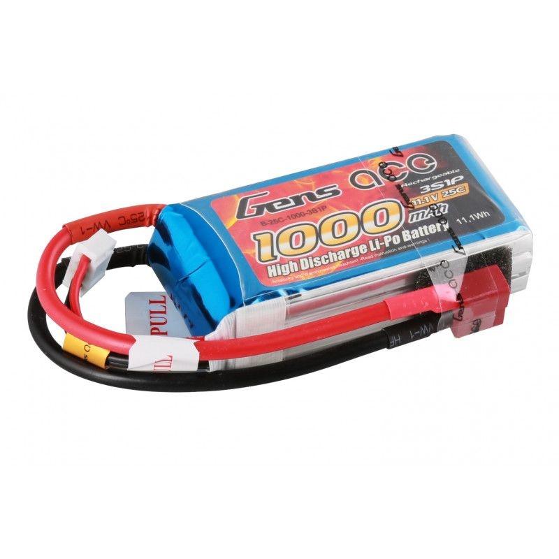 LiPo Akku 1000mAh 3S1P 11,1V 25C mit T-Stecker