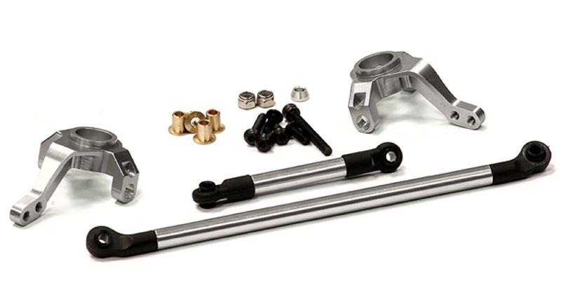 CNC Alu Lenkhebel und Lenkgestänge silber für Axial SCX-10