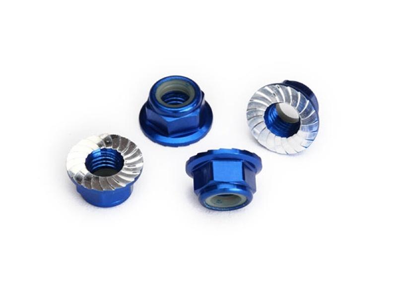 Alu Stoppmutter 5mm selbstsichernd mit Flansch, blau (4)