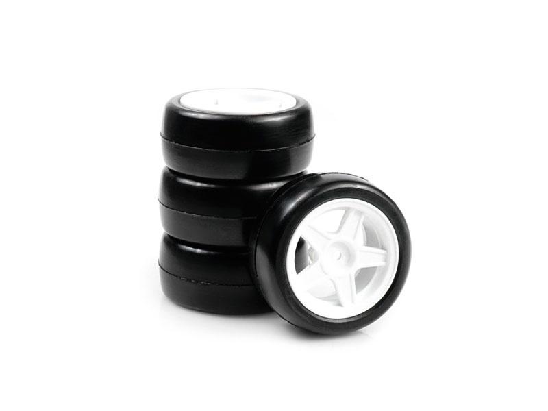 Mini 24R Rubber Slick räder verklebt, 5-Speichen Felge, 4St.