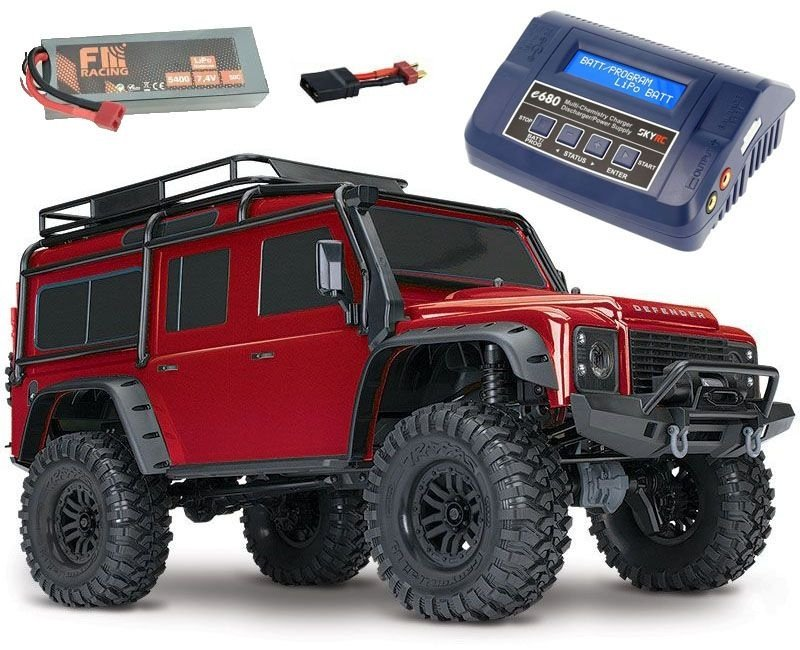 TRX-4 Land Rover Defender Crawler rot RTR + 6600 LiPo +Lader
