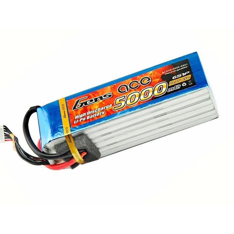 LiPo Akku 5000mAh 6S1P 22,2V 45C mit EC5 Stecker