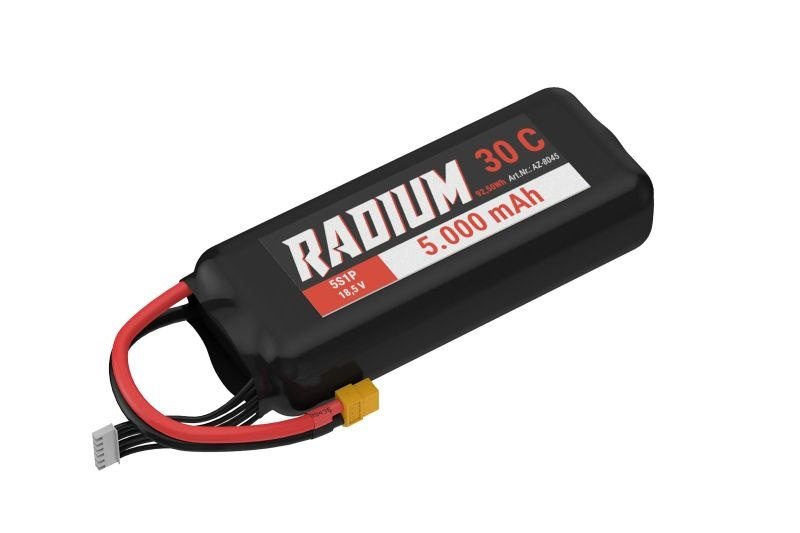 Radium LiPo Akku 5S1P 18,5V 5000mAh 30C mit XT90 Stecker