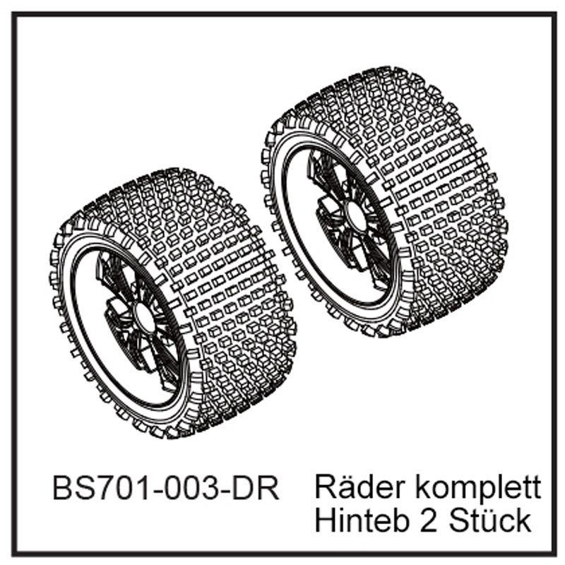 Räder komplett Hinten (2 Stück) - BEAST BX Buggy 12mm