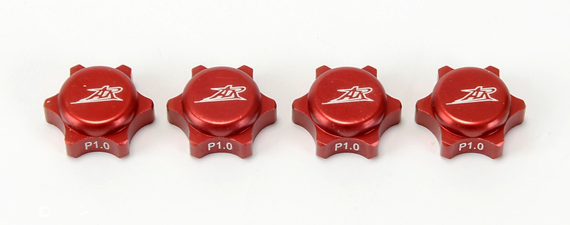 1:8 Radmuttern geschlossen rot 1,0 Gewinde (4 Stück)