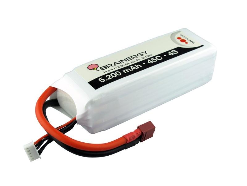 LiPo Akku 4s1p 14,8V 5.200mAh 45C BRAINERGY mit XT60