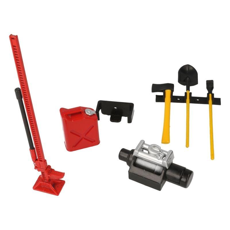 Werkzeug Set mit Halterung Dekor rot für 1/10 Scale Crawler