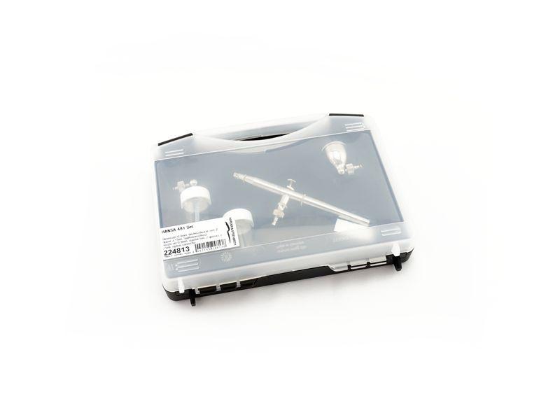 HANSA 481 Set Airbrushpistole, Düse 0,3mm, Becher, 2 Gläser