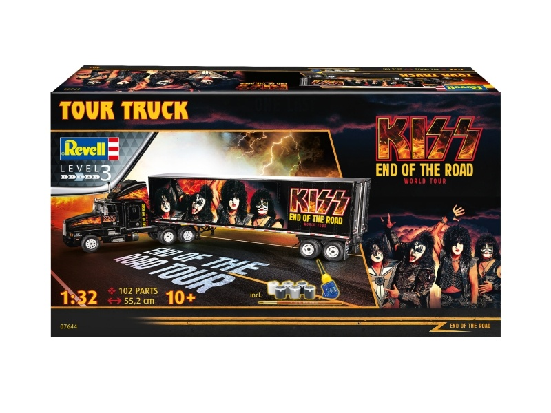 KISS Tour Truck 1:32 Bausatz mit Pinsel, Basisfarben, Kleber