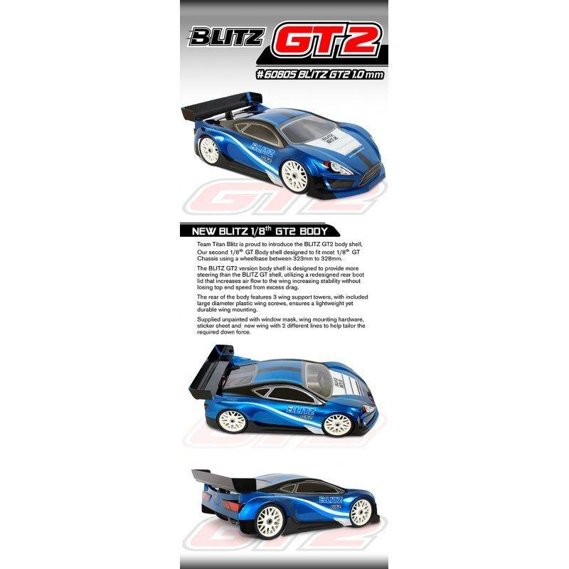 GT2 Karosserie 1:8 1,0mm, unlackiert