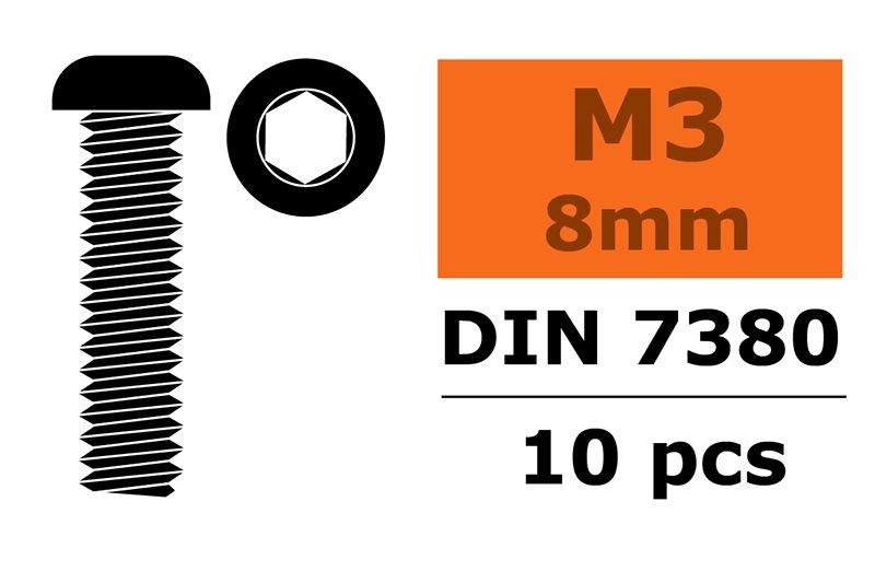 Linsenkopfschraube Innensechskannt M3x8 Stahl schwarz (10)