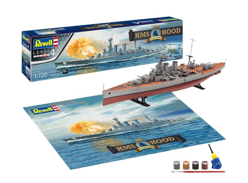 HMS HOOD Schlachtkreuzer Plastik Bausatz 1:720 mit Farbe