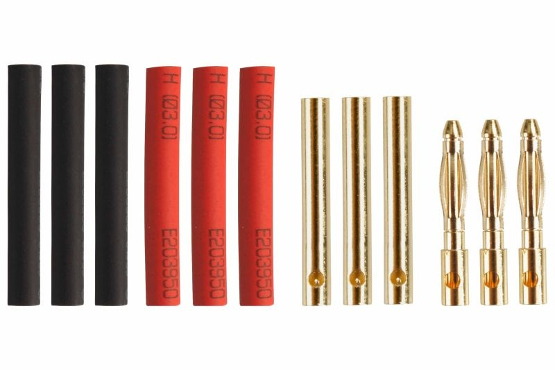Goldkontakt Ø2,0mm 3 Paare mit Schrumpfschlauch