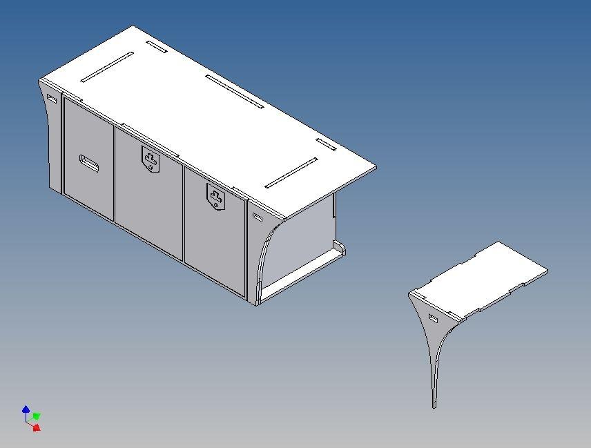 Vollprofilbox fürTamiya Scania 3-Achser 1:14 - Links