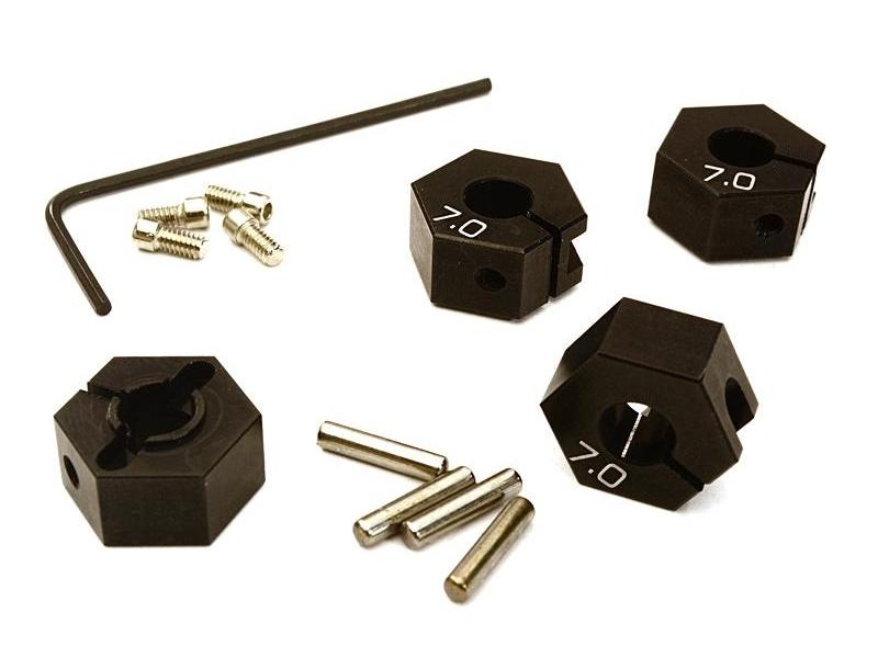 Alu 12mm Seckskantmitnehmer schwarz, 7mm für Tamiya, Axial