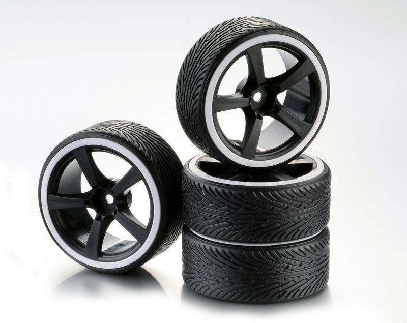 Räderset Drift 5-Speichen Profil B Felge schwarz/Ring weiß