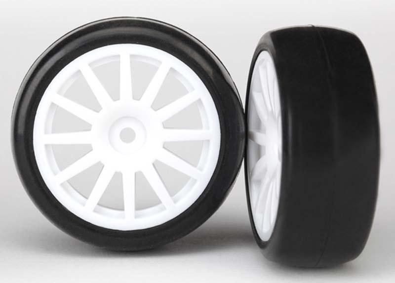 Slick-Reifen auf Felge weiß 1:18 Traxxas