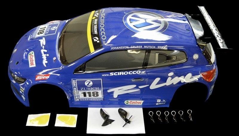 1:10 Karosserie VW Scirocco blau X10E fertig bedruckt