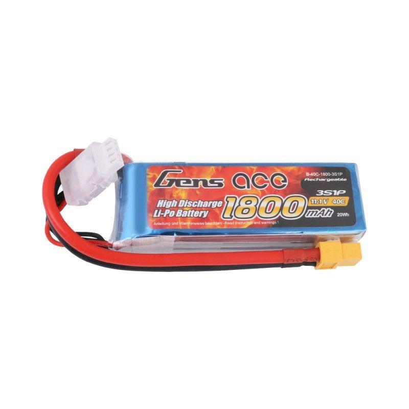 LiPo Akku 1800mAh 3S1P 11,1V 40C mit XT-60 Stecker