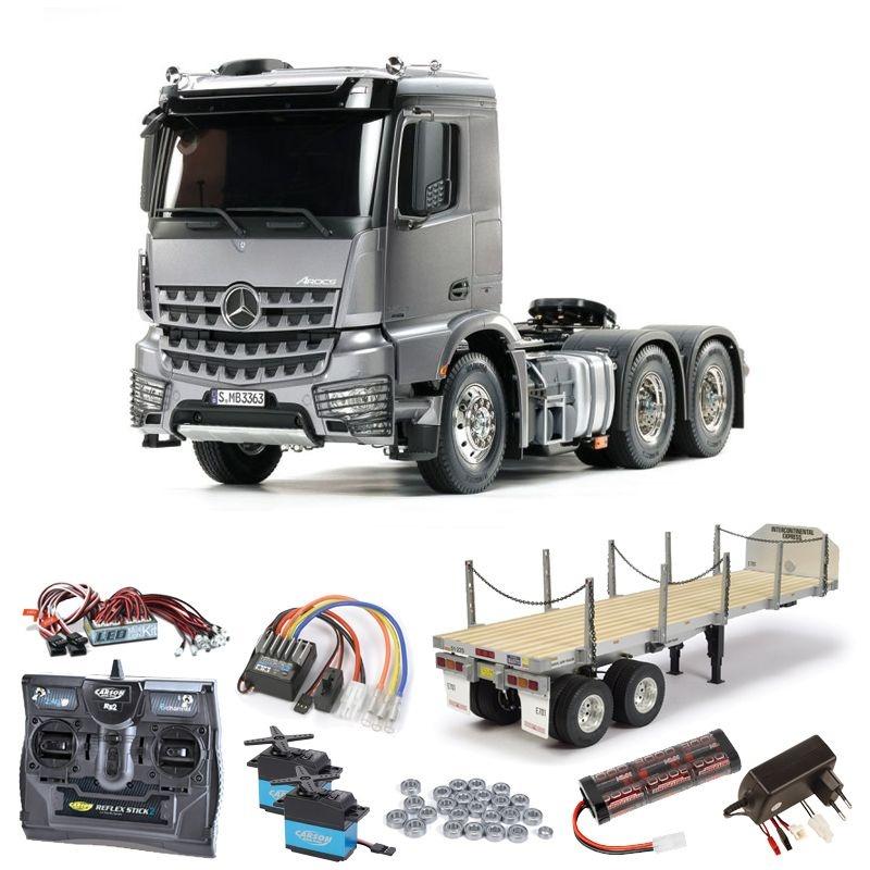 MB Arocs 3363 6x4 Truck Light Gun Metall Set, LED, Flachbett