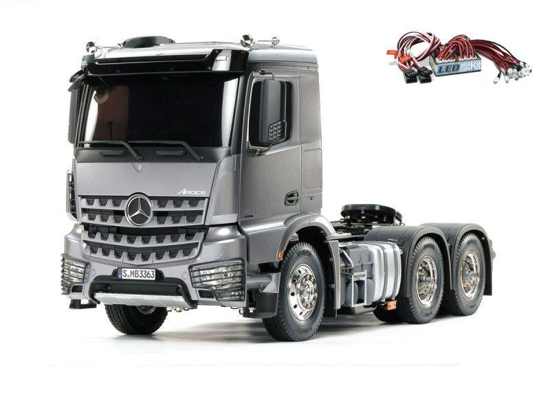 MB Arocs 3363 6x4 Truck 1/14 Light Gun Metall + LED-Lichtset