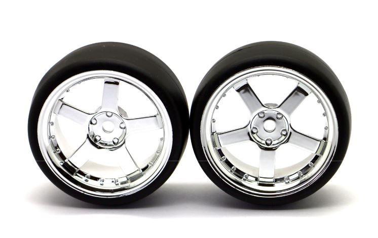 Reifen 1/10 Drift 5 Speichen Chrome Felgen 6mm Slick 2 Stück