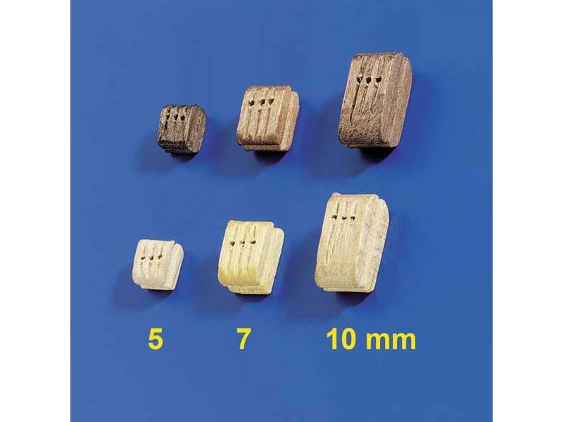Dreifachblöcke Nussbaum 5mm (10 Stück)