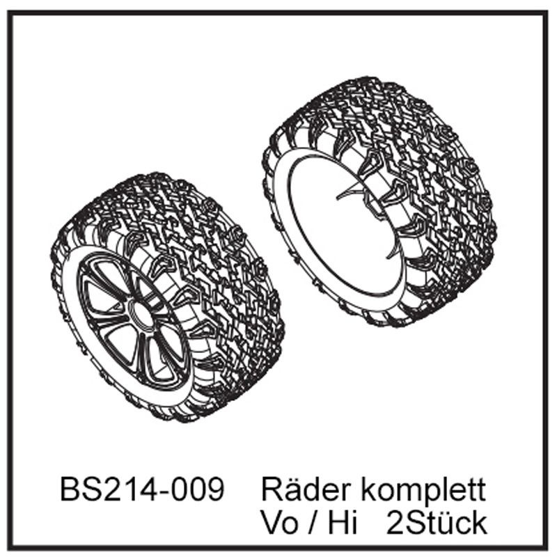 Räder komplett Vo / Hi (2 Stück) - BEAST TX 12mm