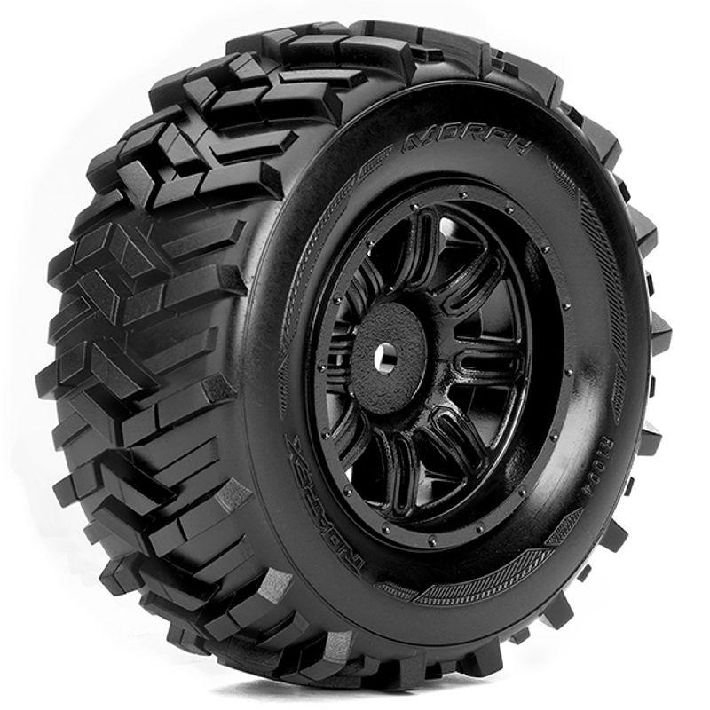 Morph Reifen auf Felge schwarz 12mm für 1/10 Short Course
