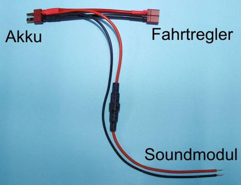 Akku Y-Kabel mit Steckverbindung und Sicherungshalter