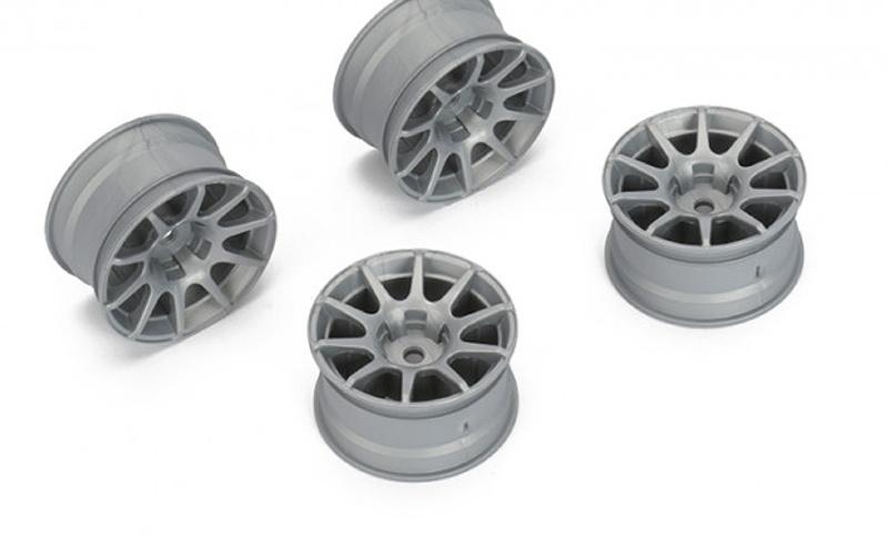 Felge 10-Speichen +4mm, 12mm Hex für M-Chassis, grau (4)