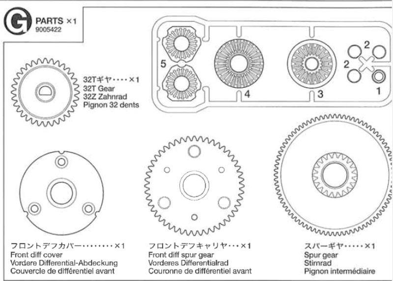 G-Teile cc-01 Getriebesatz/Diff-Sperre